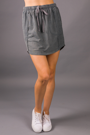 Terry Casual Skirt, Gray