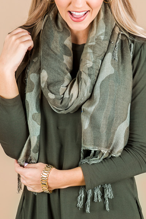 Camo Square Scarf, Green