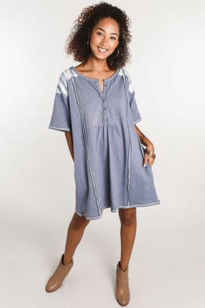 Mixed Material Henley Dress