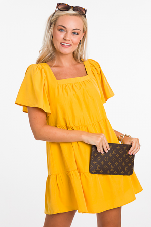 Solid Square Dress, Yellow
