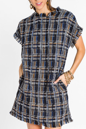 Tweed Thrill Dress, Navy
