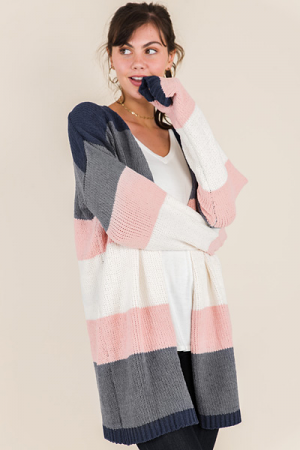 Lissie Stripe Cardigan, Grey