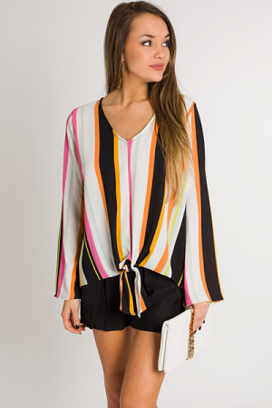 Mod Stripes Tie Blouse