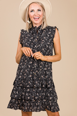 Buttons Floral Dress, Black