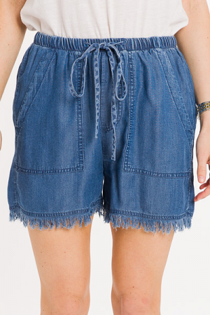 Frayed Drawstring Shorts