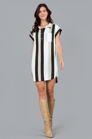 Trio Stripe Shirt Dress