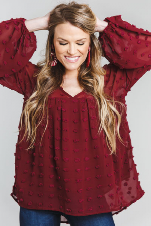 Textured Dots Babydoll, Burgundy