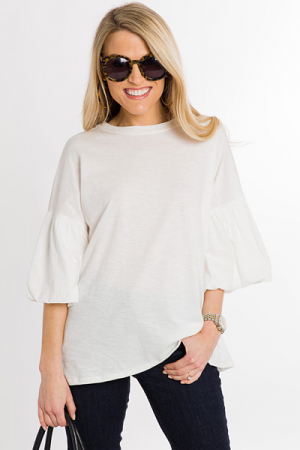 Puff Sleeve Top, Ivory
