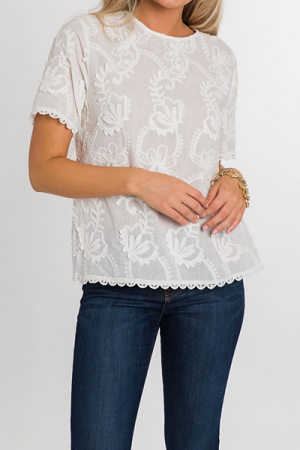 Shelly Embroidered Top, White