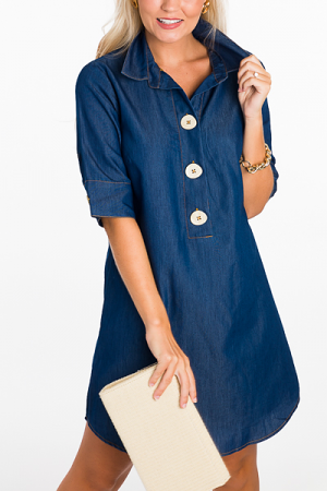 Big Button Denim Dress