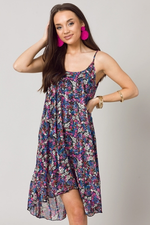 Metallic Floral Slip Dress