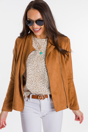 Riley Suede Moto Jacket, Tan