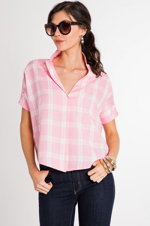 Pink Plaid Top