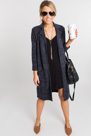 Dana Collared Duster, Charcoal