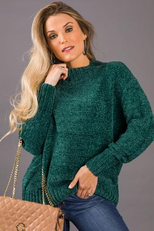 Emma Chenille Sweater, Green