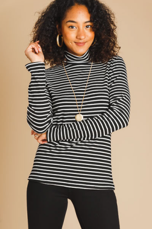 Black Stripes Turtleneck