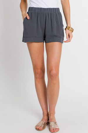 Cuffed Pull On Shorts, Charcoal