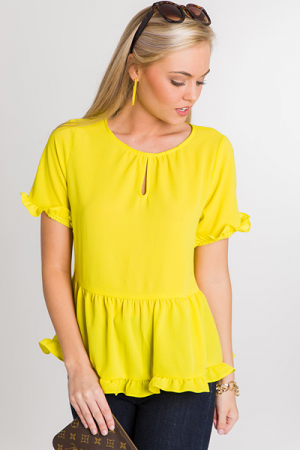 Bright Side Ruffle Blouse, Kiwi
