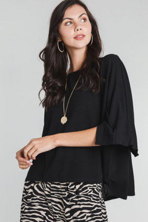 Square Sleeve Top, Black