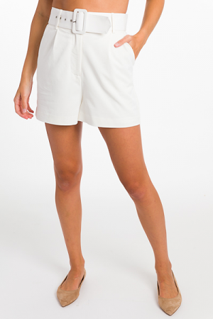 Belted Shorts, White