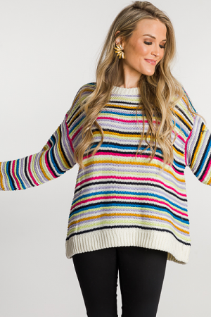 Rainbow Stitch Sweater, Cream