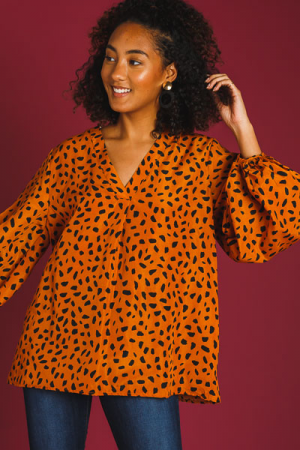 Spiced Spots Blouse, Camel