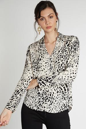 Snow Leopard Button Blouse