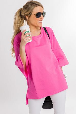 Raw Edge Tunic, Hot Pink