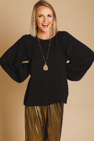 Balloon Sleeve Blouse, Black