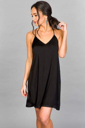 Satin Slip Dress, Black