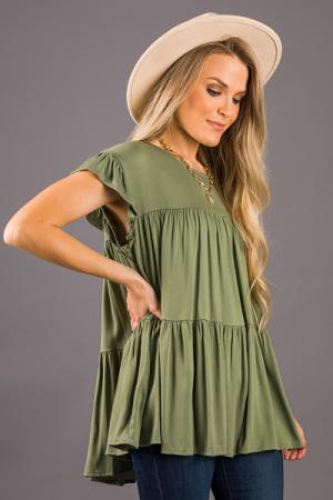 Trisha Tiered Top, Olive