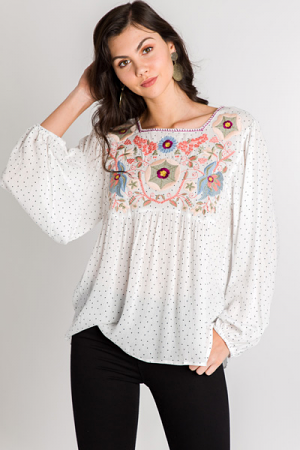 Embroidered Dots Blouse