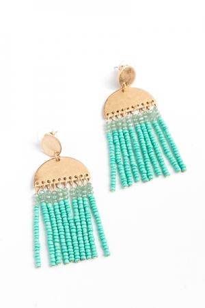 Sunset Tassel Earrings, Turquoise