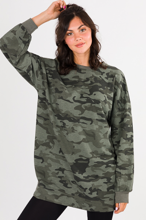 Wesley Sweatshirt Dress, Camo