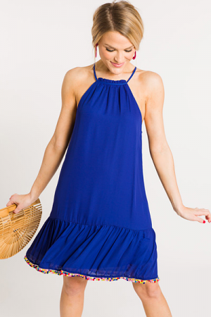 Fun Fetti Trim Dress, Royal