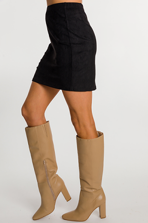 Stretchy Suede Skirt, Black