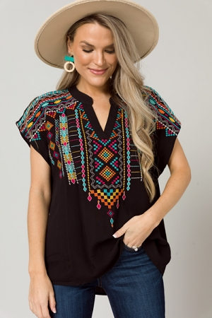Aztec Embroidery Top, Black