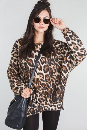 Brushed Knit Leopard Pullover