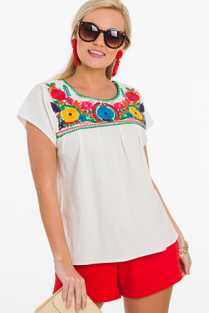 Colorful World Embroidery Top
