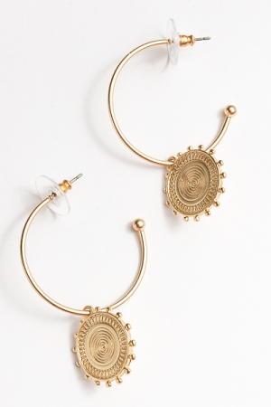 Disc Charm Hoops, Gold