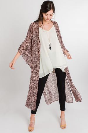 Angel Sleeve Leopard Kimono