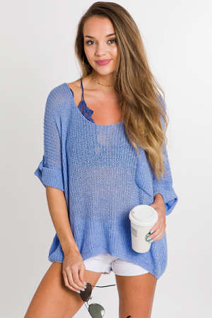 Loose Knit Pocket Sweater, Blue