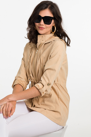 Gold Trim Utility Jacket, Beige