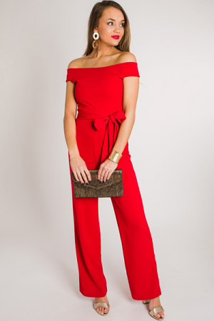 Night Out Jumpsuit, Red