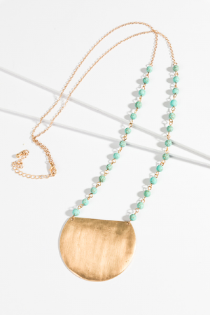 Metal Plate Long Necklace, Turquoise