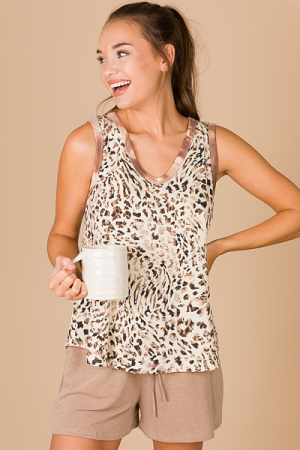 Cheetah Knit Tank, Taupe Edge