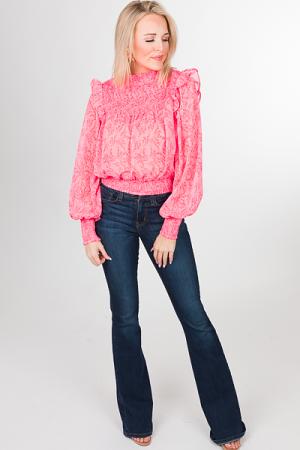 Smocked Crop Top, Pink Floral