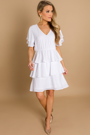 White Wishes Tiered Dress