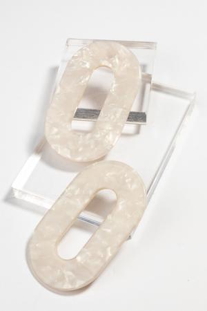 Flat Oval Earring, White