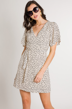 Speckled Wrap Waist Dress